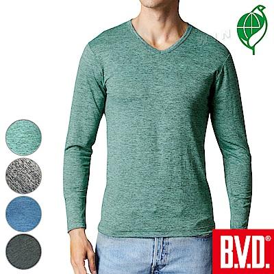 BVD 再生彩紋輕暖絨V領長袖衫(四色可選)-2入組