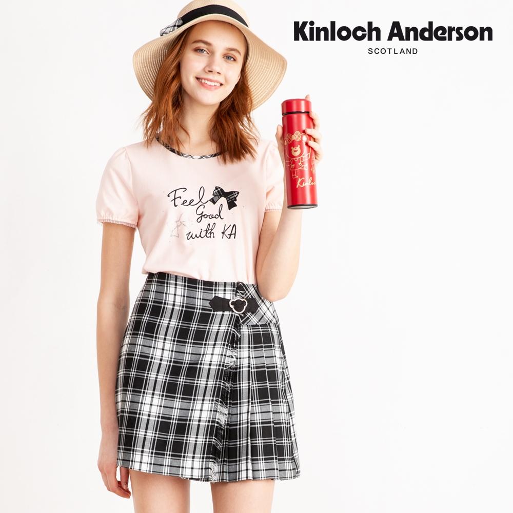 【Kinloch Anderson金安德森】2021新色格紋小熊側百褶裙(短裙-混紡-黑/藏青深藍)