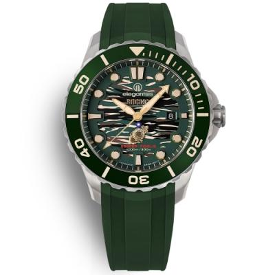 elegantsis 海軍陸戰隊2.0 機械錶 鈦金屬 防水300米 矽膠手錶-綠色/44mm