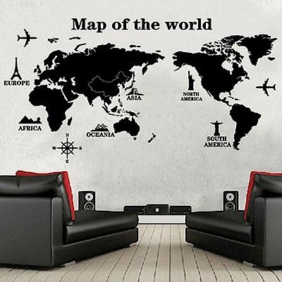 半島良品 DIY無痕壁貼-世界地圖(黑) AY9133 60x90cm
