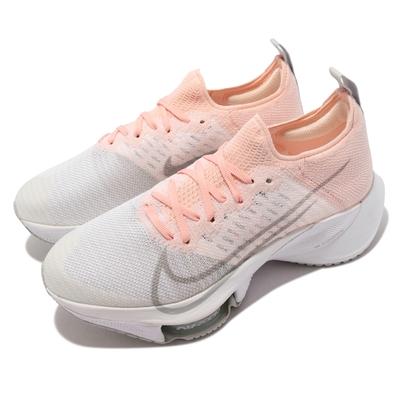 Nike 慢跑鞋 Zoom Tempo Next FK 女鞋 襪套 氣墊 避震 路跑 Flyknit 粉 白 CI9924-600
