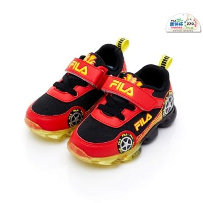 FILA KIDS 小童PVC電燈運動鞋-黑紅 7-J456U-029