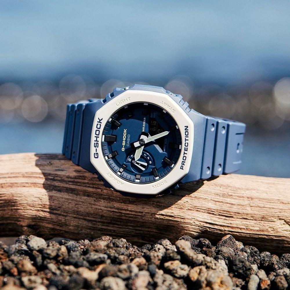 CASIO卡西歐 G-SHOCK 簡約獨特 海軍藍 八角型錶殼 GA-2110ET-2A_45.4mm