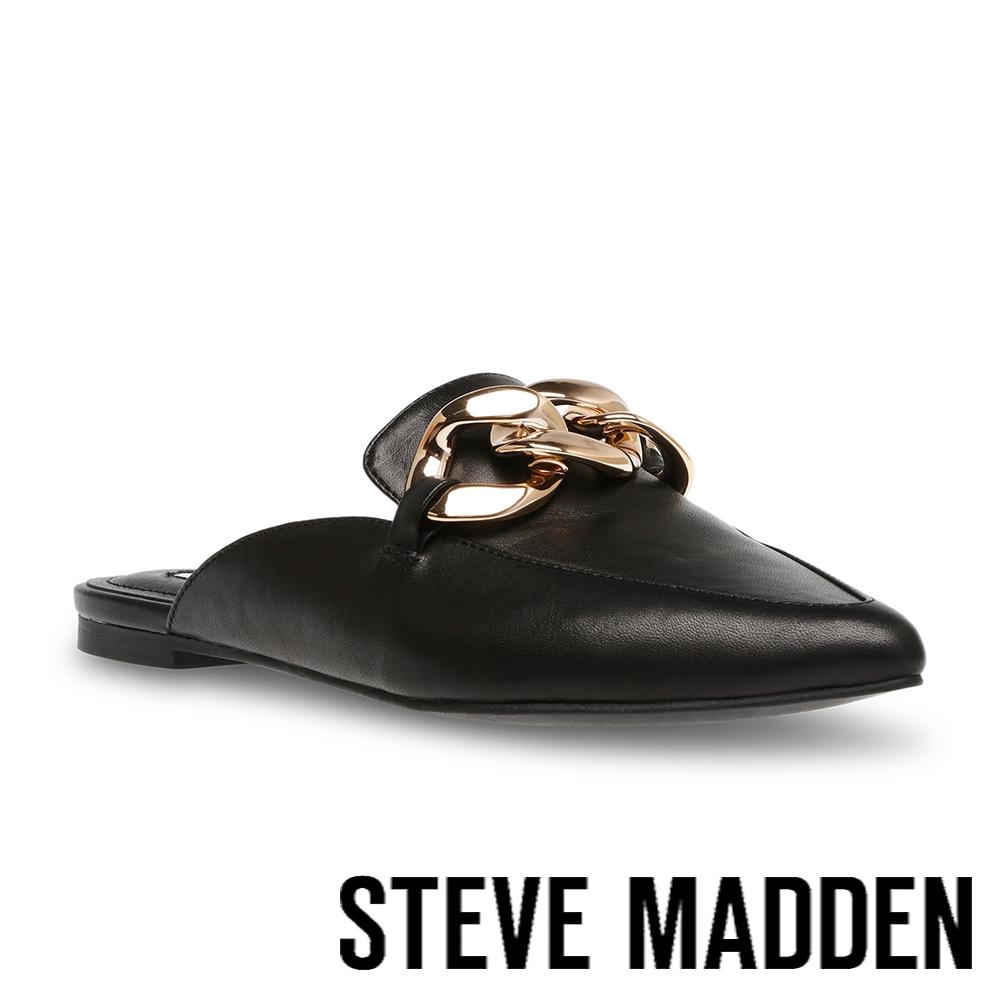 STEVE MADDEN-FINN 飾釦尖頭平底穆勒拖鞋-黑色