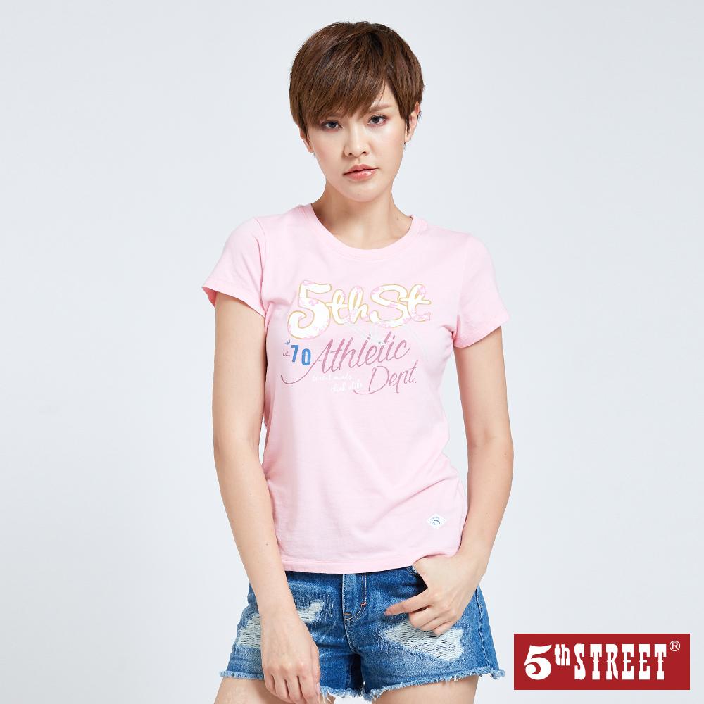 5th STREET 夏日花卉印花短袖T恤-女-粉紅