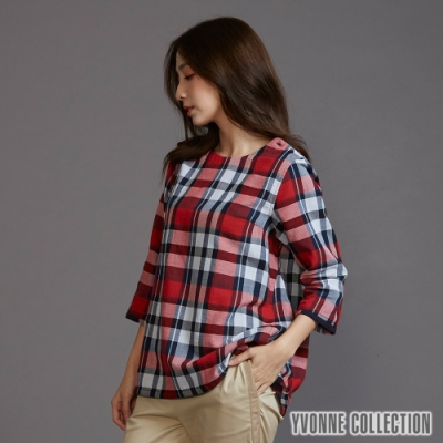 YVONNE 格紋船型領七分袖上衣-紅