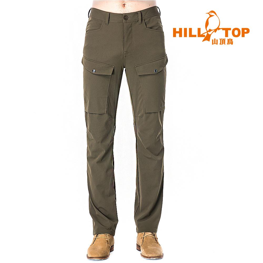 【hilltop山頂鳥】男款超潑水彈性保暖長褲H31ML1希臘橄欖