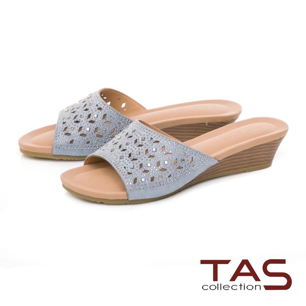 TAS 閃耀水鑽幾何鏤空一字涼拖鞋-淡海藍