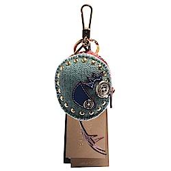 BURBERRY Thomas經典格紋小雞造型鈕釦/鉚釘裝飾鑰匙圈/吊飾(暈粉)