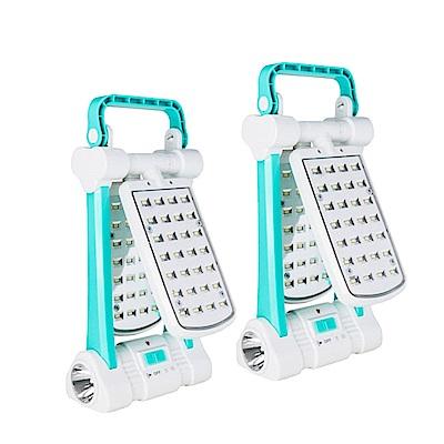 (2入組)KINYO 多功能LED檯燈/露營燈/手電筒(CP-05)太陽能/AC