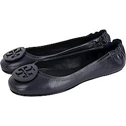 TORY BURCH Minnie Travel 琺瑯盾牌飾折疊平底鞋(黑夜藍)