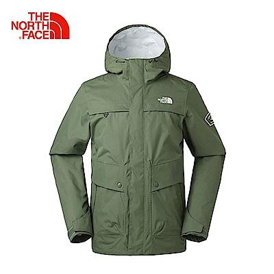 The North Face北面男款綠色防水透氣風衣|3CIQZCE