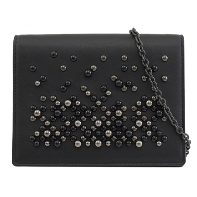 BOTTEGA VENETA 羊皮釘珠裝飾多功能斜背鍊包(黑)