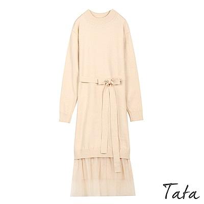 拼接紗裙針織洋裝(附腰帶) 共二色 TATA