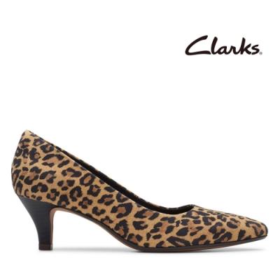 Clarks 都會女伶 全真皮微尖頭棕色豹紋低跟鞋 棕色豹紋