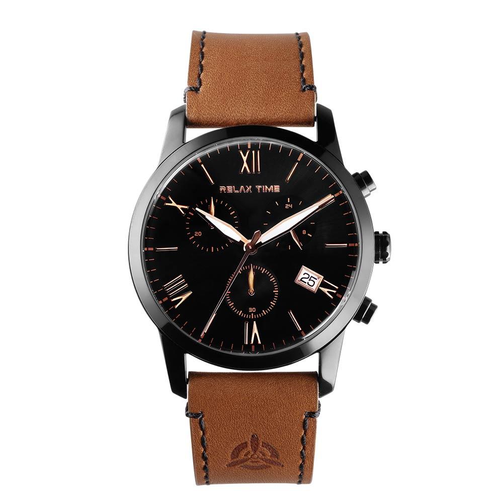 RELAX TIME 三眼飛行計時碼錶 RT-67-5 黑x黑/45mm