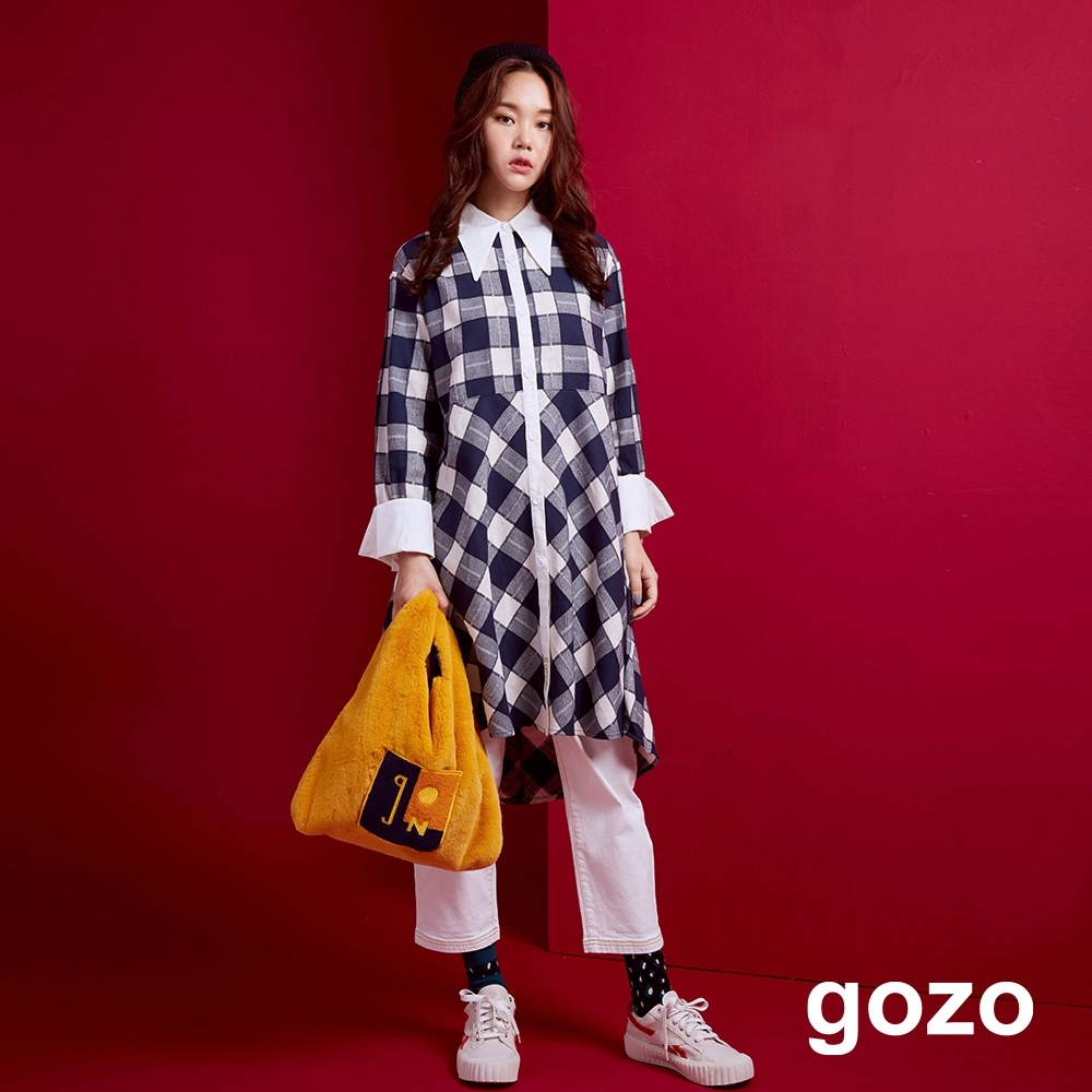 gozo 格紋拼接傘狀襯衫洋裝(深藍)