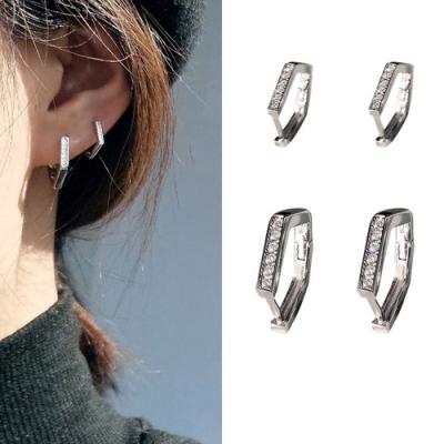 梨花HaNA 韓國925銀原創極簡六邊型鑲鑽耳環