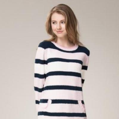 La Felino - 橫條毛巾針織洋裝居家服 - 粉色
