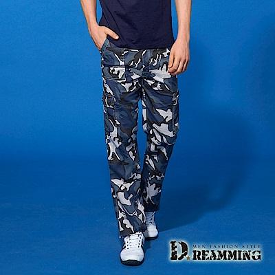 Dreamming 夏日薄款迷彩伸縮休閒工作長褲-藍灰