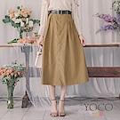 東京著衣-yoco 時髦歐膩排釦附皮帶短絨打褶圓裙-S.M.L(共二色)