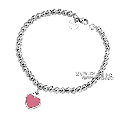 Tiffany&Co. 迷你愛心粉紅色吊牌925純銀串珠手鍊