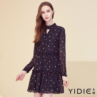 【YIDIE衣蝶】V領幾何圖型短洋裝