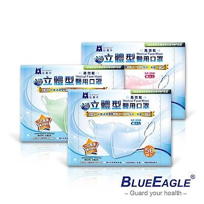 藍鷹牌 N95醫療口罩 成人立體型醫用口罩 50入/盒(束帶式/藍色.綠色.粉色)