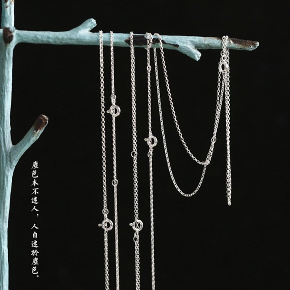 東方美學文藝925純銀掛飾配鏈鎖骨項鍊-設計所在