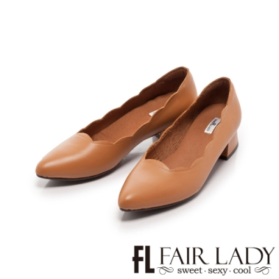 Fair Lady 波浪花邊尖頭梯形低跟鞋 沙漠