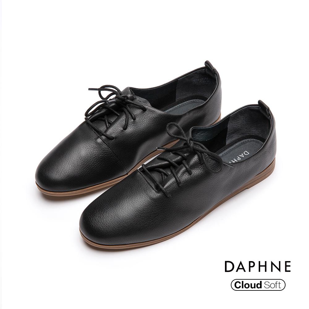 達芙妮DAPHNE 休閒鞋-真皮綁帶拚接牛津平底休閒鞋-黑