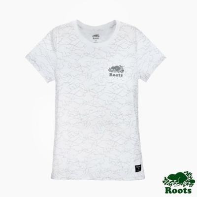 女裝Roots夏日極光滿版變色短袖T恤-白色