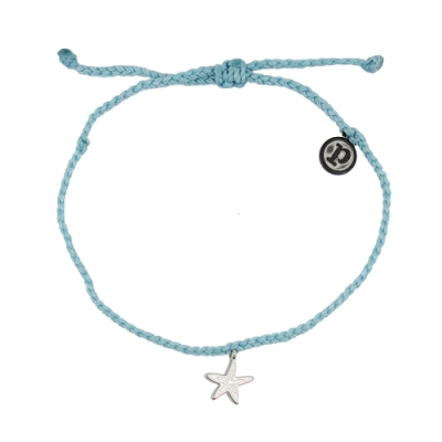 Pura Vida 美國手工 銀色海星 湖水藍蠟線可調式手鍊衝浪海灘防水手繩