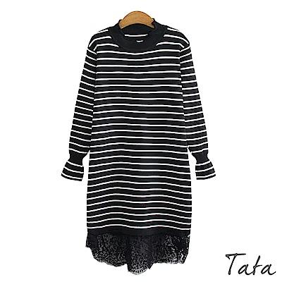 拼接蕾絲縮口喇叭袖洋裝 共二色 TATA