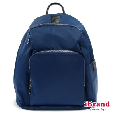 iBrand 率性時尚後開式防盜尼龍後背包(L)-深海藍
