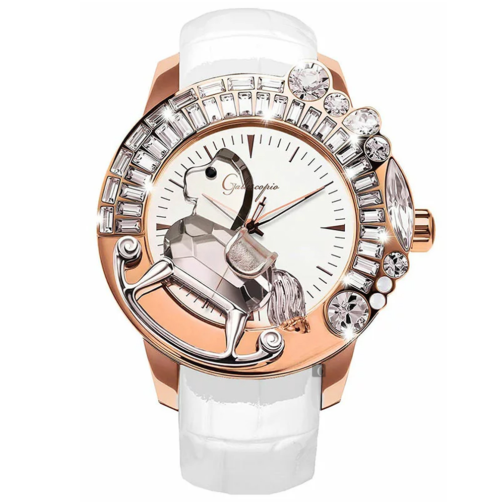 Galtiscopio迦堤 童真木馬系列 創作夢幻手錶-白x玫塊金框/50mm