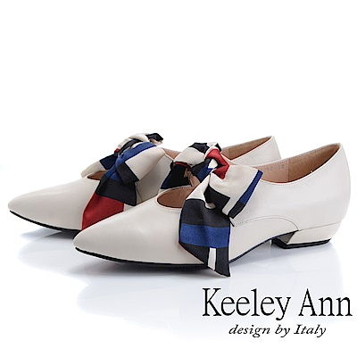Keeley Ann慵懶盛夏 甜美緞帶尖頭瑪莉珍鞋(米白色)