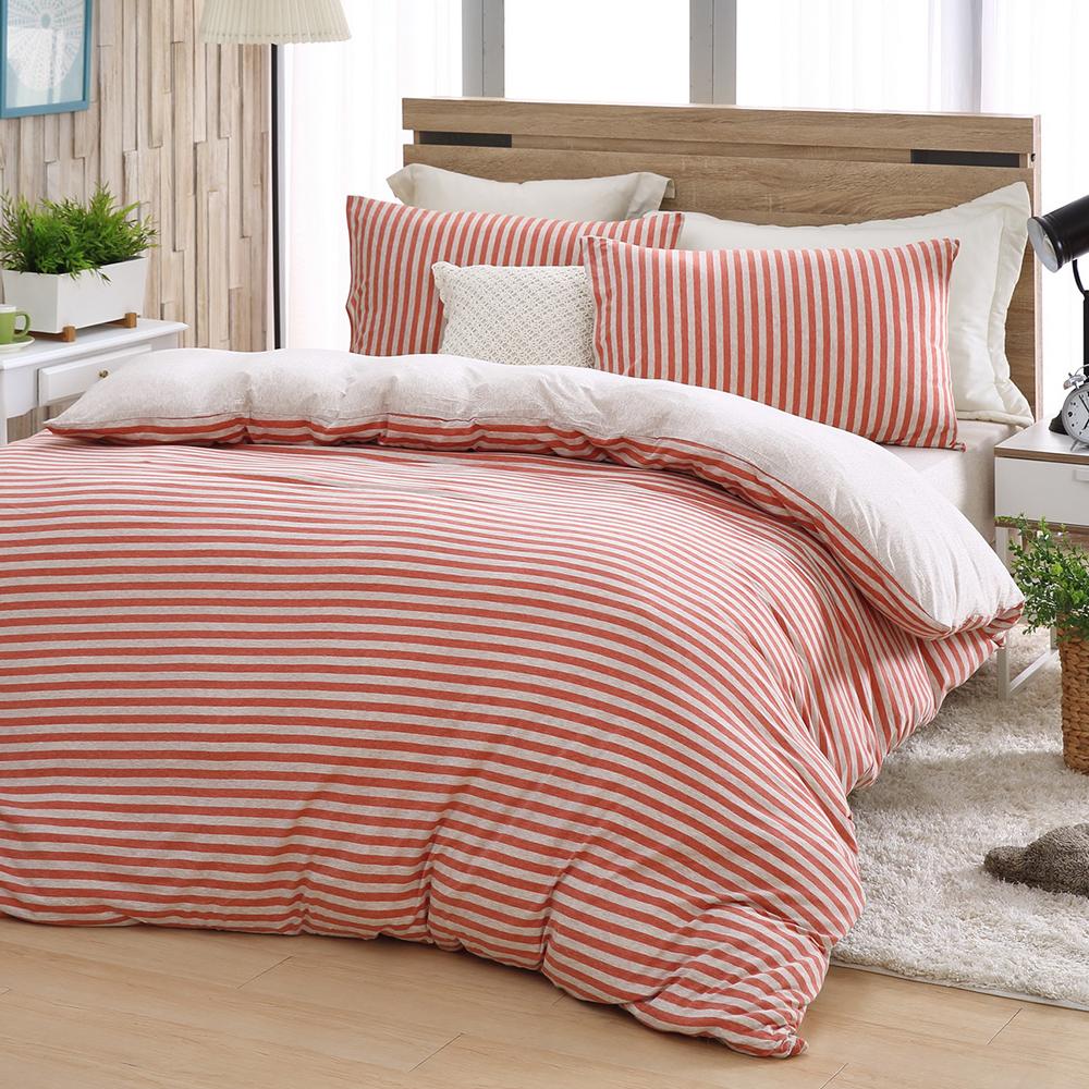 LASOL睡眠屋-無印風格針織天竺棉 雙人薄被床包四件組 知性的紅