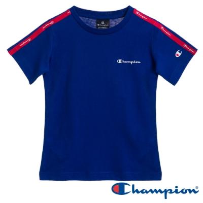 Champion EU童 肩線條紋短Tee 寶藍色