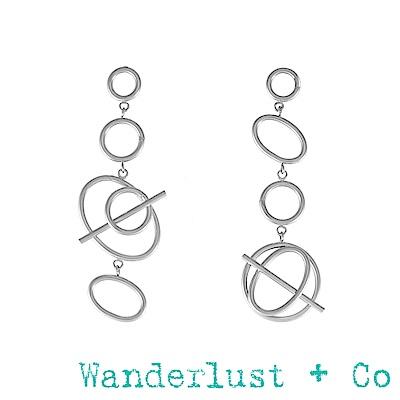 Wanderlust+Co Infusion系列 多螺旋銀色耳環