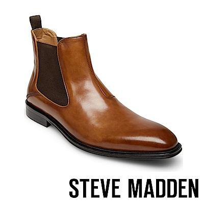 STEVE MADDEN-MALICE復古方頭潮流真皮紳士雀爾喜靴-咖啡