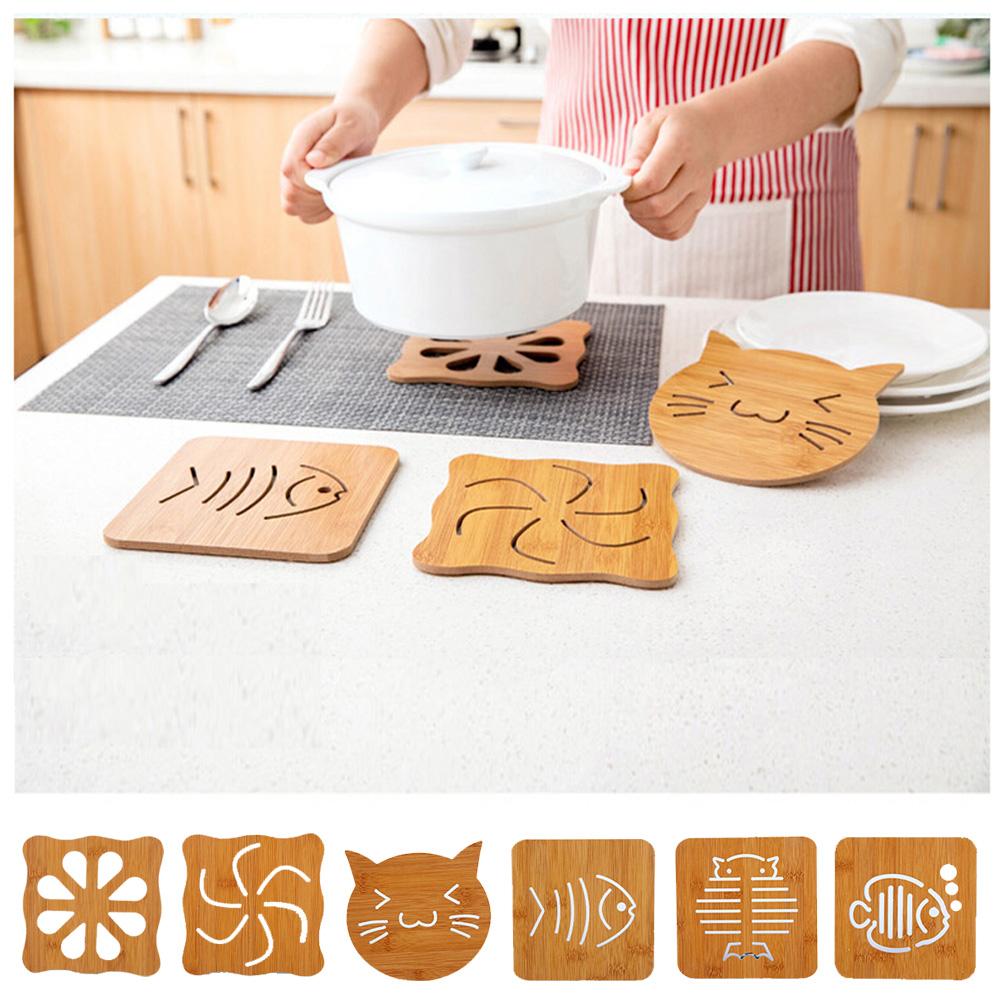 E-dot  日式木質加厚防燙防滑隔熱桌墊6入(款式隨機)