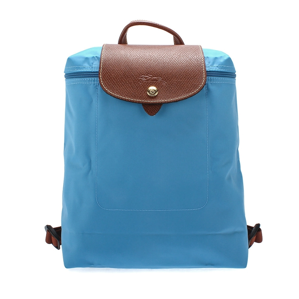 LONGCHAMP 經典摺疊尼龍後背包-天藍色
