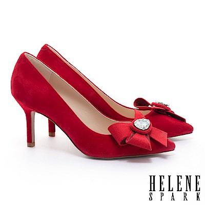 高跟鞋 HELENE SPARK 奢華晶鑽手工花飾麂皮美型尖頭高跟鞋-紅