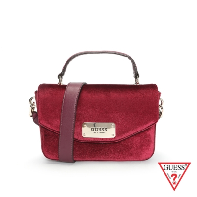 GUESS-女包-質感天鵝絨肩背包-紅 原價3490