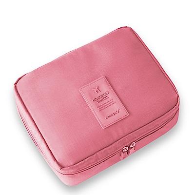 旅遊首選 多隔層防潑水 盥洗包 化妝包 收納包 旅行包 隨身包 洗漱包(粉紅)