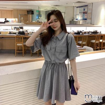 Mini嚴選- 韓版POLO領繫帶收腰A字連身裙 二色