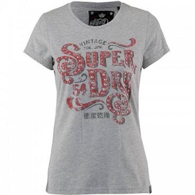 Superdry Frontier Script 鉚釘 T 恤(鐵灰色)