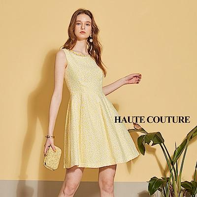 Haute Couture 高定系 精緻進口波點提花禮服洋裝-山陽金黃