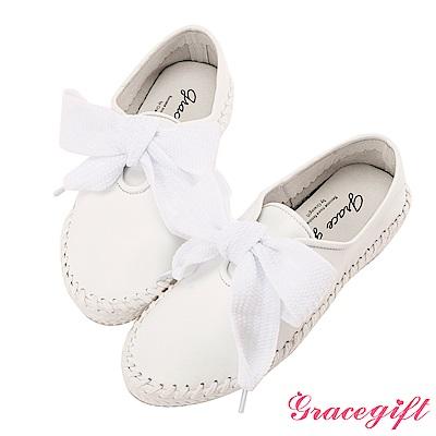 Grace gift-全真皮寬版織帶麻繩休閒鞋 白